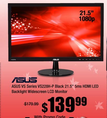 ASUS VS Series VS228H-P Black 21.5 inch 5ms HDMI LED Backlight Widescreen LCD Monitor