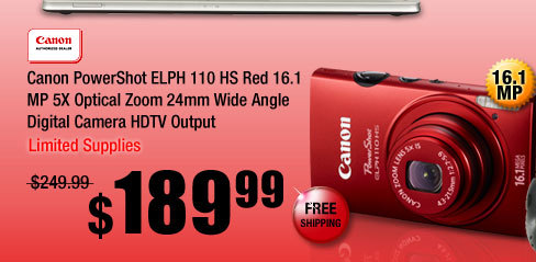 Canon PowerShot ELPH 110 HS Red 16.1 MP 5X Optical Zoom 24mm Wide Angle Digital Camera HDTV Output