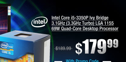 Intel Core i5-3350P Ivy Bridge 3.1GHz (3.3GHz Turbo) LGA 1155 69W Quad-Core Desktop Processor