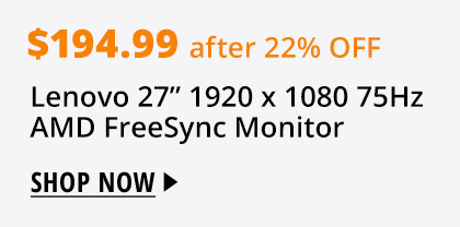 "Lenovo 27"" 1920 x 1080 75Hz AMD FreeSync Monitor"