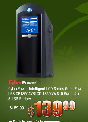 CyberPower Intelligent LCD Series GreenPower UPS CP1350AVRLCD 1350 VA 810 Watts 4 x 5-15R Battery