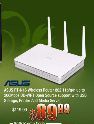 ASUS RT-N16 Wireless Router 802.11b/g/n up to 300Mbps DD-WRT Open Source support with USB Storage, Printer And Media Server