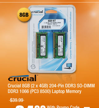 Crucial 8GB (2 x 4GB) 204-Pin DDR3 SO-DIMM DDR3 1066 (PC3 8500) Laptop Memory