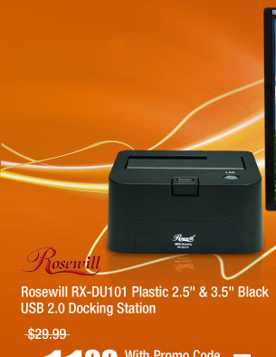 "Rosewill RX-DU101 Plastic 2.5' & 3.5"" Black USB 2.0 Docking Station"
