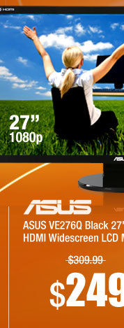 ASUS VE276Q Black 27 inch 1920X1080 2ms Full HD HDMI Widescreen LCD Monitor