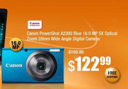Canon PowerShot A2300 Blue 16.0 MP 5X Optical Zoom 28mm Wide Angle Digital Camera