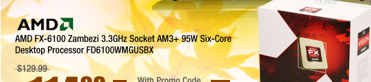 AMD FX-6100 Zambezi 3.3GHz Socket AM3+ 95W Six-Core Desktop Processor FD6100WMGUSBX