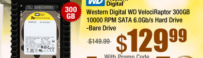 Western Digital WD VelociRaptor WD3000HLHX 300GB 10000 RPM 32MB Cache SATA 6.0Gb/s 3.5 inch Internal Hard Drive -Bare Drive