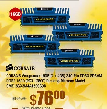 CORSAIR Vengeance 16GB (4 x 4GB) 240-Pin DDR3 SDRAM DDR3 1600 (PC3 12800) Desktop Memory Model CMZ16GX3M4A1600C9B