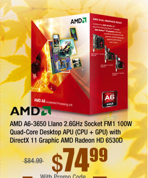 AMD A6-3650 Llano 2.6GHz Socket FM1 100W Quad-Core Desktop APU (CPU + GPU) with DirectX 11 Graphic AMD Radeon HD 6530D AD3650WNGXBOX