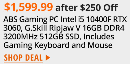 ABS Gaming PC Intel i5 10400F RTX 3060 G.Skill Ripjaw V 16GB DDR4 3200MHz 512GB SSD Includes Gaming Keyboard and Mouse