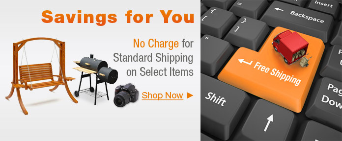 No charge for standard shipping on select items